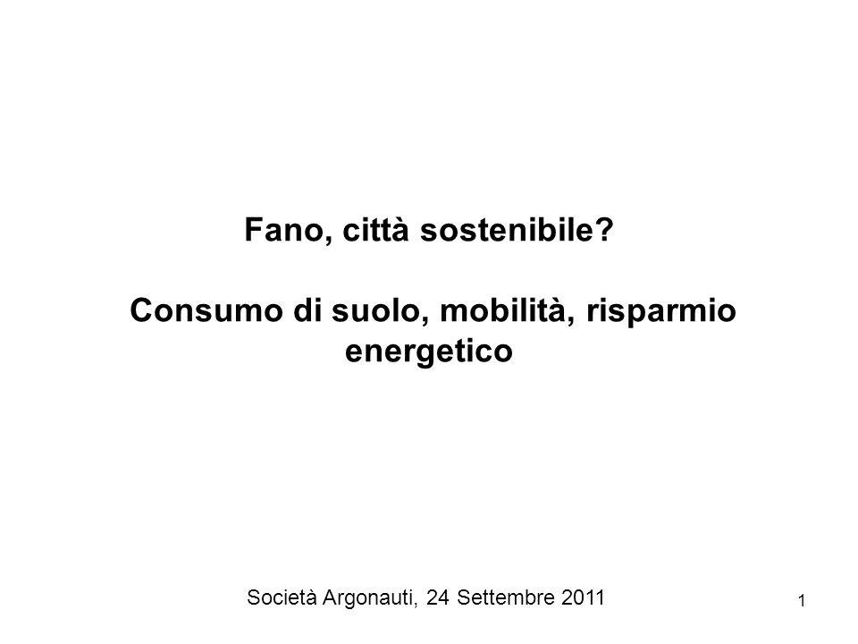 1 Fano, città sostenibile? Consumo di suolo, mobilità, risparmio energetico Società Argonauti, 24 Settembre 2011
