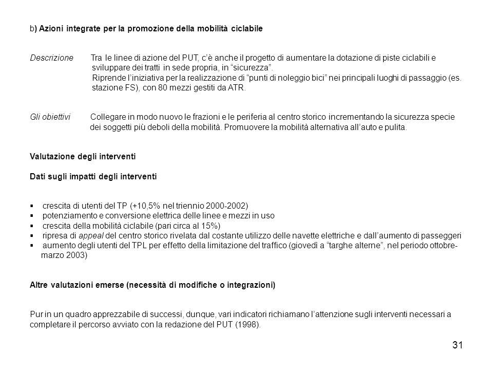 31 b) Azioni integrate per la promozione della mobilità ciclabile Descrizione Tra le linee di azione del PUT, cè anche il progetto di aumentare la dot