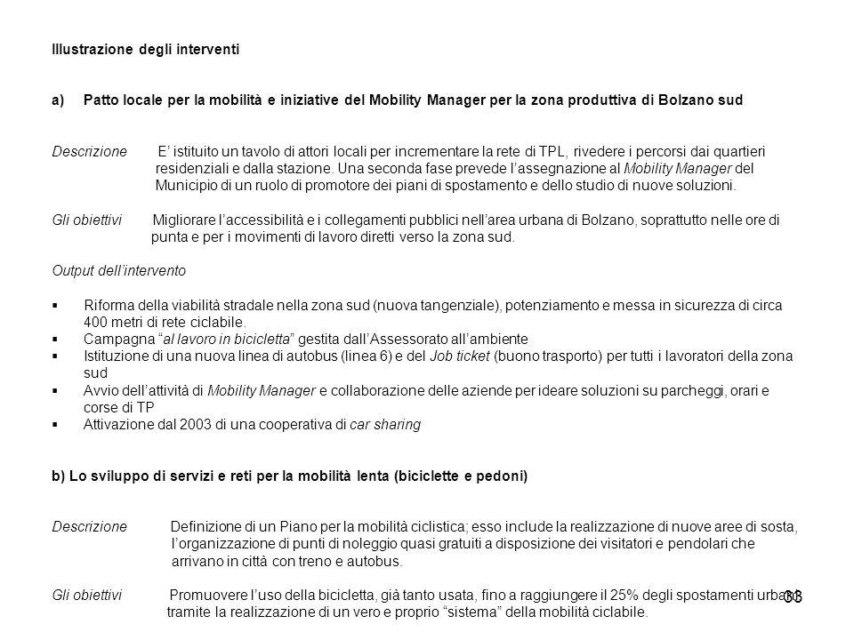33 lllustrazione degli interventi a)Patto locale per la mobilità e iniziative del Mobility Manager per la zona produttiva di Bolzano sud Descrizione E