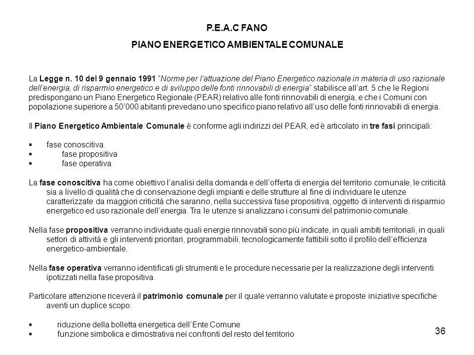 36 P.E.A.C FANO PIANO ENERGETICO AMBIENTALE COMUNALE La Legge n. 10 del 9 gennaio 1991 Norme per lattuazione del Piano Energetico nazionale in materia