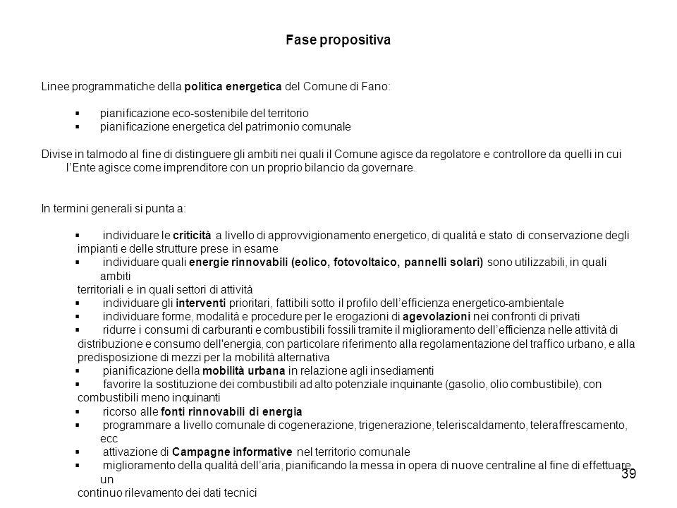 39 Fase propositiva Linee programmatiche della politica energetica del Comune di Fano: pianificazione eco-sostenibile del territorio pianificazione en