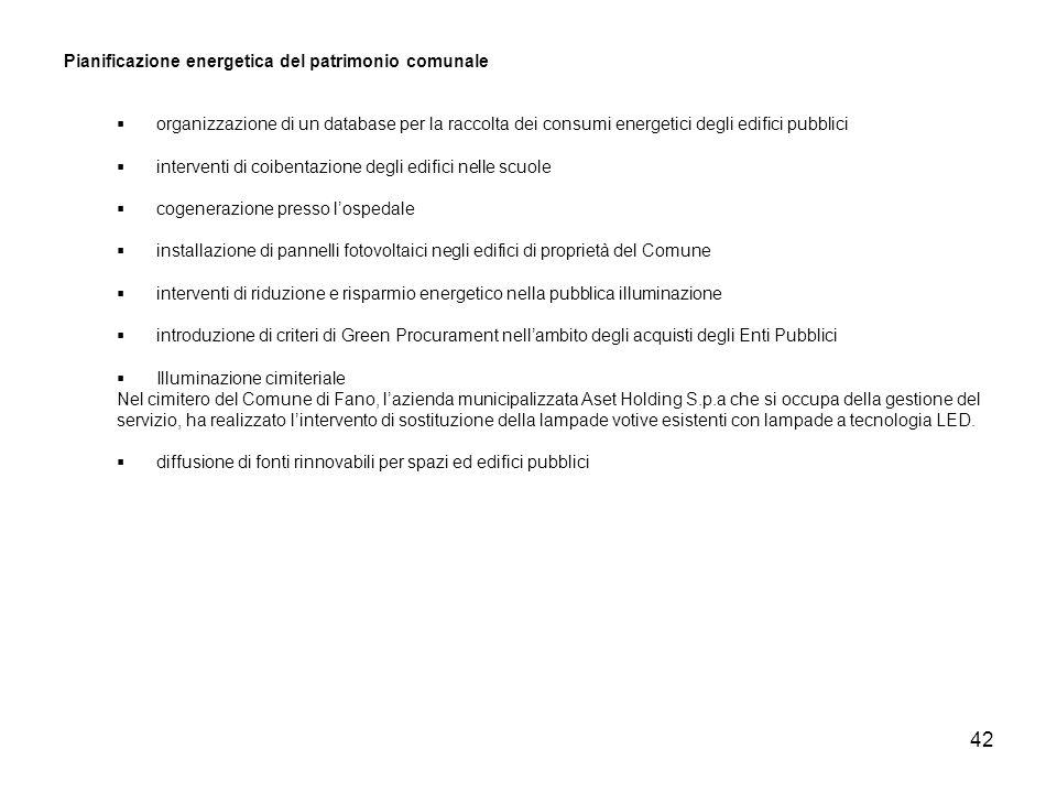 42 Pianificazione energetica del patrimonio comunale organizzazione di un database per la raccolta dei consumi energetici degli edifici pubblici inter
