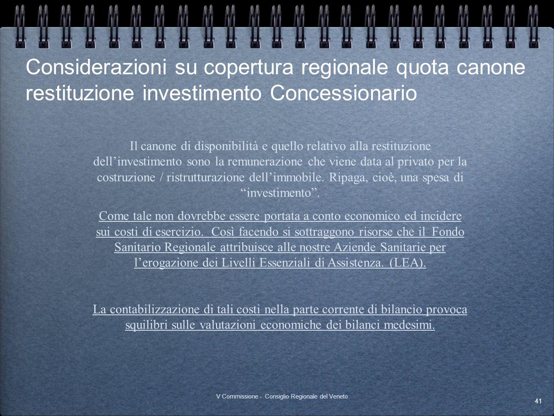 Considerazioni su copertura regionale quota canone restituzione investimento Concessionario 41 V Commissione - Consiglio Regionale del Veneto Il canon