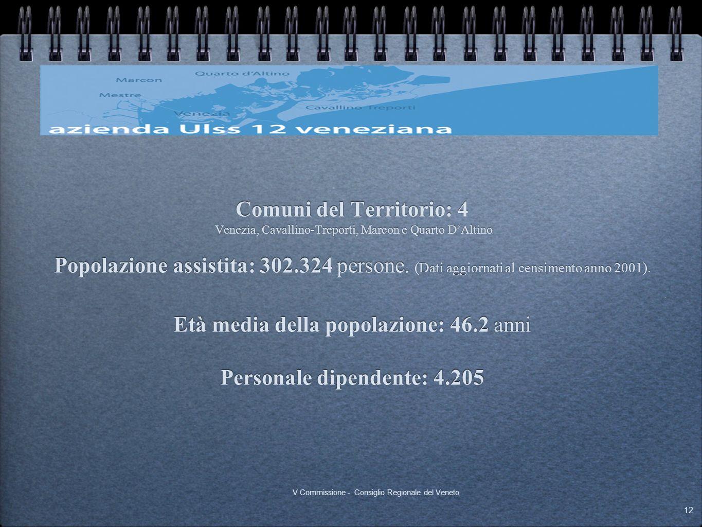 Comuni del Territorio: 4 Venezia, Cavallino-Treporti, Marcon e Quarto DAltino Popolazione assistita: 302.324 persone. (Dati aggiornati al censimento a