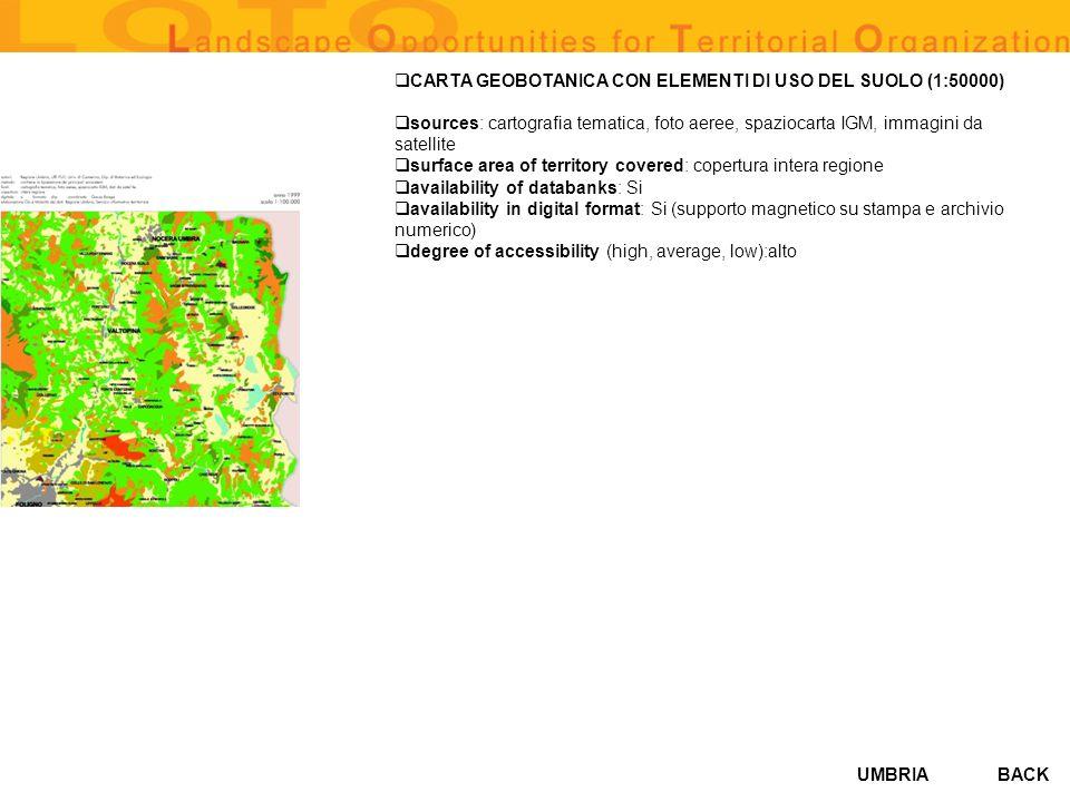 UMBRIA CARTA GEOBOTANICA CON ELEMENTI DI USO DEL SUOLO (1:50000) sources: cartografia tematica, foto aeree, spaziocarta IGM, immagini da satellite sur