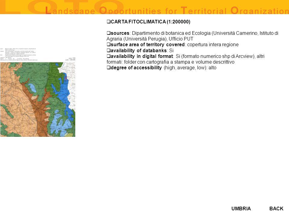 UMBRIA CARTA FITOCLIMATICA (1:200000) sources: Dipartimento di botanica ed Ecologia (Università Camerino, Istituto di Agraria (Università Perugia), Uf