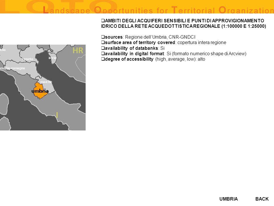 UMBRIA AMBITI DEGLI ACQUIFERI SENSIBILI E PUNTI DI APPROVIGIONAMENTO IDRICO DELLA RETE ACQUEDOTTISTICA REGIONALE (1:100000 E 1:25000) sources: Regione dellUmbria, CNR-GNDCI surface area of territory covered: copertura intera regione availability of databanks: Si availability in digital format: Si (formato numerico shape di Arcview) degree of accessibility (high, average, low): alto BACK