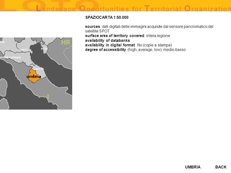 UMBRIABACK SPAZIOCARTA 1:50.000 sources: dati digitali delle immagini acquisite dal sensore pancromatico del satellite SPOT surface area of territory