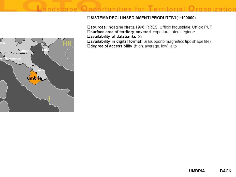 UMBRIA SISTEMA DEGLI INSEDIAMENTI PRODUTTIVI (1:100000) sources: indagine diretta 1996 IRRES, Ufficio Industriale, Ufficio PUT surface area of territo