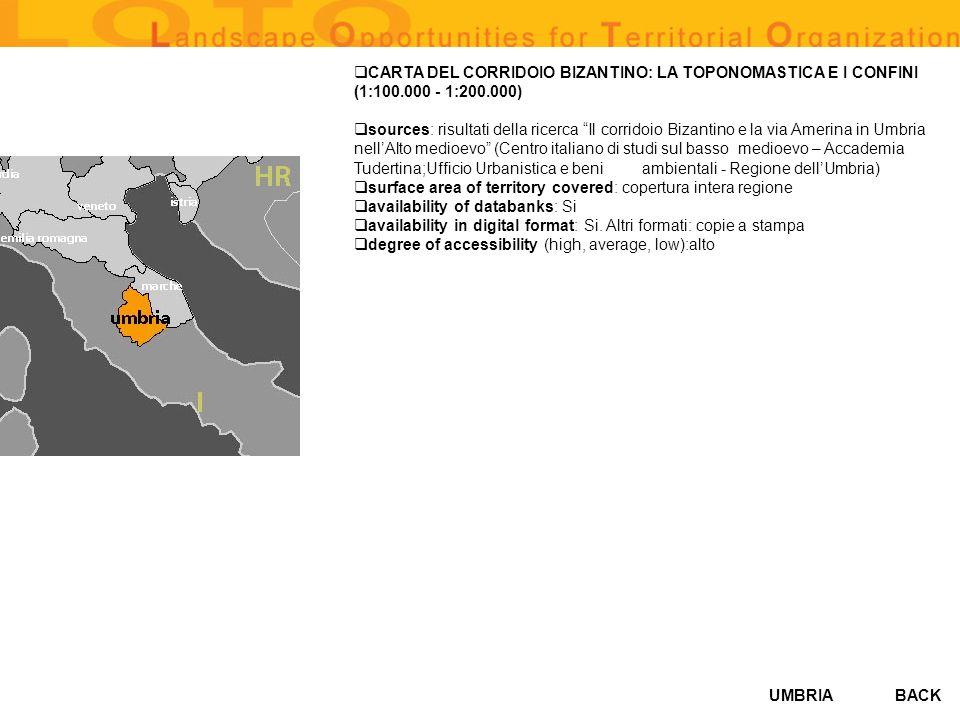 UMBRIA CARTA DEL CORRIDOIO BIZANTINO: LA TOPONOMASTICA E I CONFINI (1:100.000 - 1:200.000) sources: risultati della ricerca Il corridoio Bizantino e l
