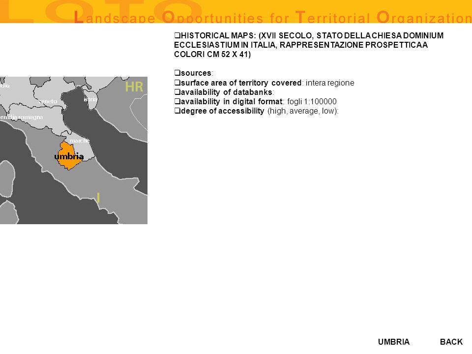 UMBRIA HISTORICAL MAPS: (XVII SECOLO, STATO DELLA CHIESA DOMINIUM ECCLESIASTIUM IN ITALIA, RAPPRESENTAZIONE PROSPETTICA A COLORI CM 52 X 41) sources: