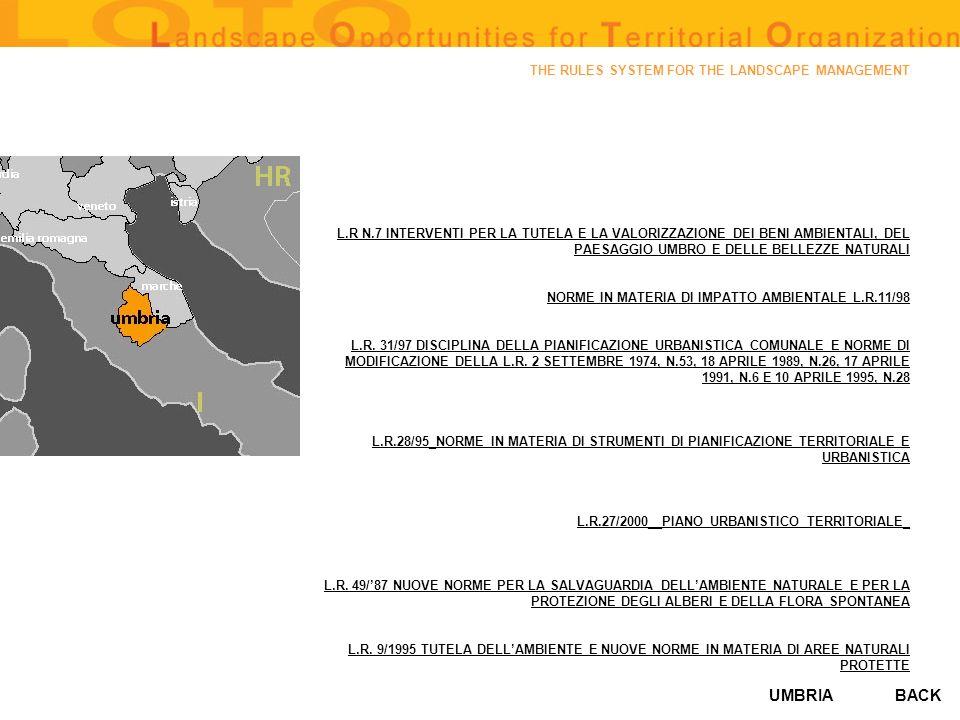 UMBRIA THE RULES SYSTEM FOR THE LANDSCAPE MANAGEMENT L.R N.7 INTERVENTI PER LA TUTELA E LA VALORIZZAZIONE DEI BENI AMBIENTALI, DEL PAESAGGIO UMBRO E D