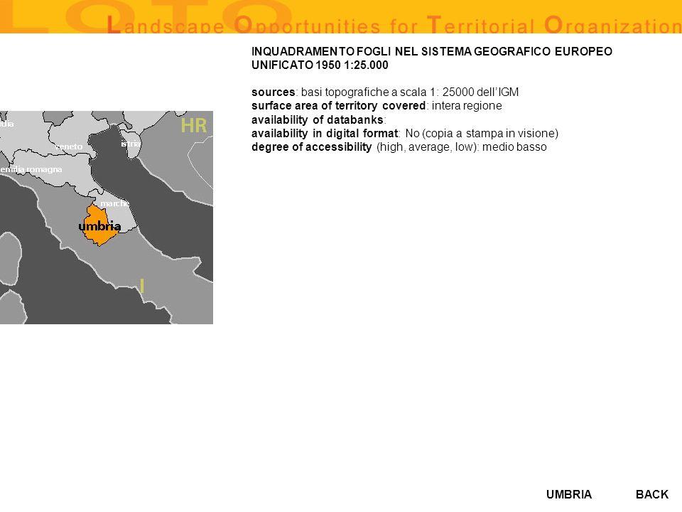 UMBRIABACK INQUADRAMENTO FOGLI NEL SISTEMA GEOGRAFICO EUROPEO UNIFICATO 1950 1:25.000 sources: basi topografiche a scala 1: 25000 dellIGM surface area