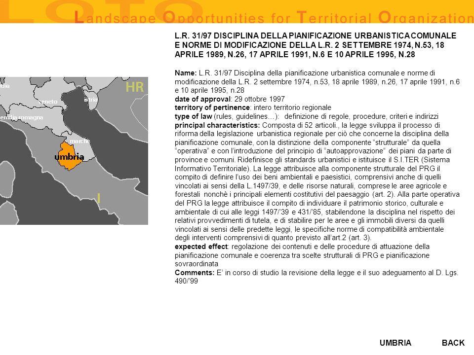 UMBRIA L.R. 31/97 DISCIPLINA DELLA PIANIFICAZIONE URBANISTICA COMUNALE E NORME DI MODIFICAZIONE DELLA L.R. 2 SETTEMBRE 1974, N.53, 18 APRILE 1989, N.2