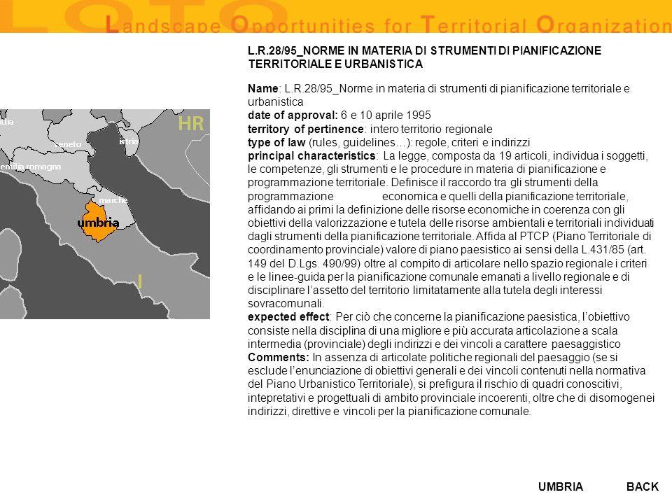 UMBRIA L.R.28/95_NORME IN MATERIA DI STRUMENTI DI PIANIFICAZIONE TERRITORIALE E URBANISTICA Name: L.R.28/95_Norme in materia di strumenti di pianifica