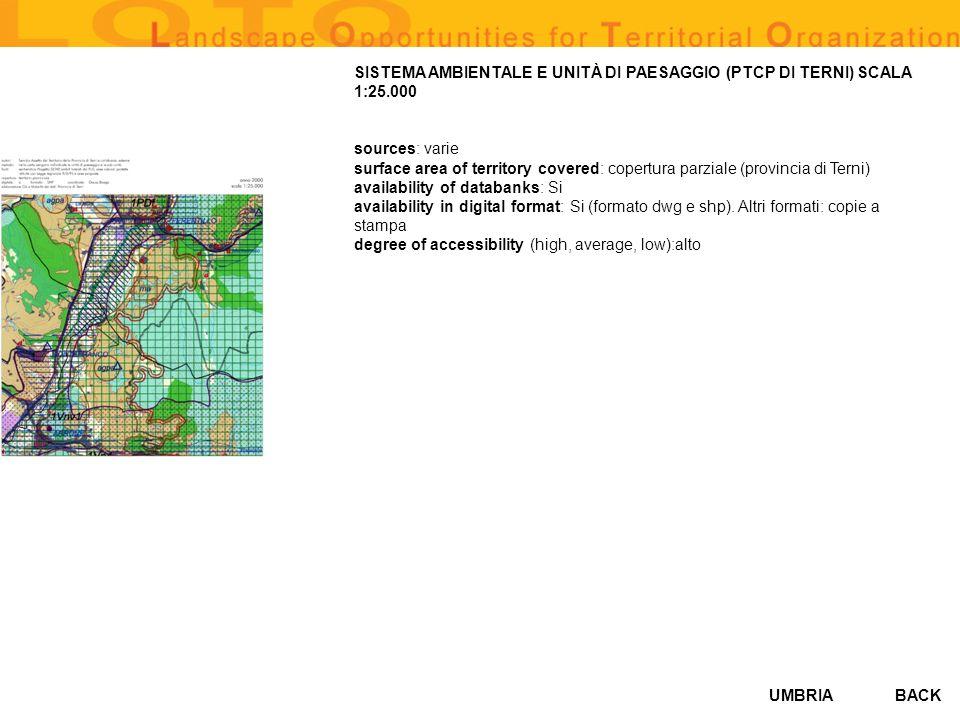 UMBRIA SISTEMA AMBIENTALE E UNITÀ DI PAESAGGIO (PTCP DI TERNI) SCALA 1:25.000 sources: varie surface area of territory covered: copertura parziale (pr