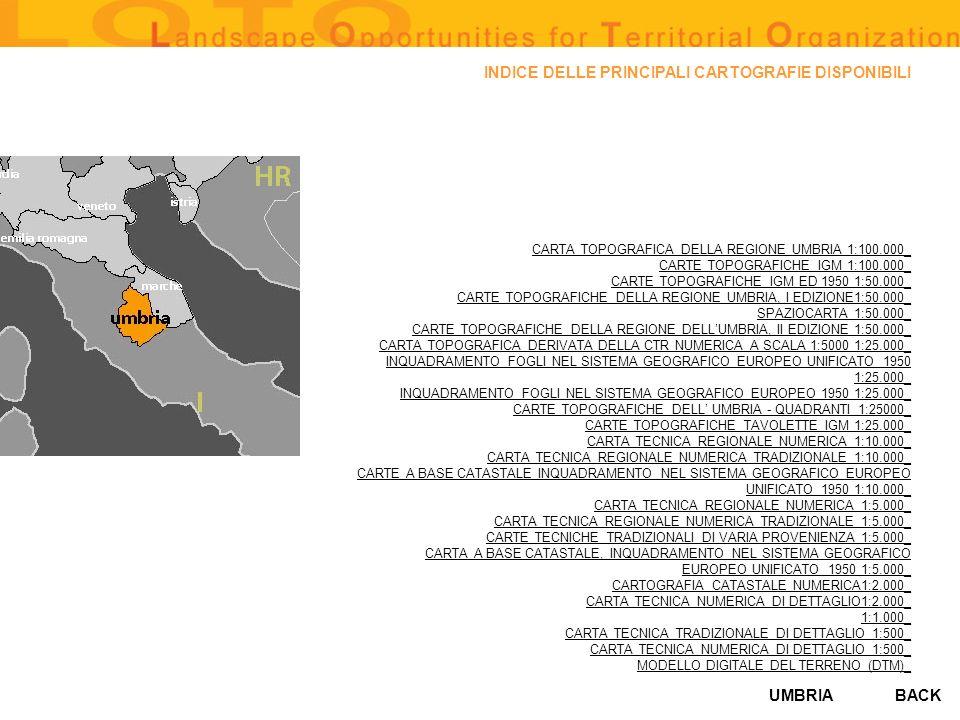UMBRIA AZIENDE AGRITURISTICHE sources: Agriturismo, Umbria ospitalità 1998 regione dellUmbria surface area of territory covered: copertura intera regione availability of databanks: Si availability in digital format: Si (supporto magnetico file in formati vari in ambiente ArcInfo e E00, altri formati: cartografie a scala 1:100000 delle aziende agrituristiche, maneggi, noleggio, biciclette, cartografia a scala 1:100000 dellAereoporto regionale, servizio di navigazione) degree of accessibility (high, average, low):alto BACK