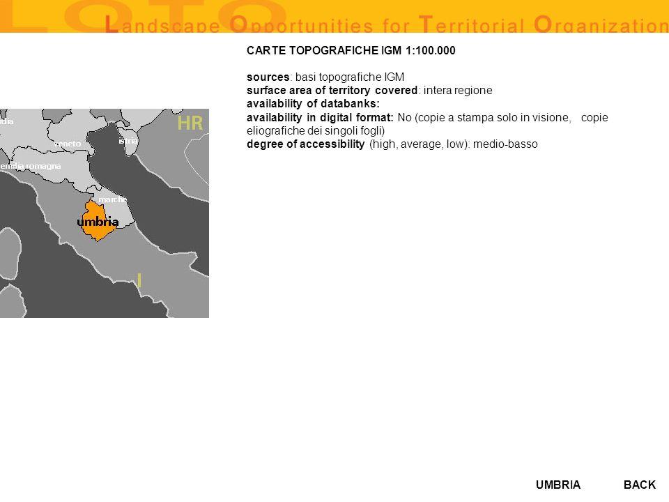 UMBRIA GEOLOGICAL AND GEOMORPHOLOGICAL MAP (CARTA GEOLOGICA NUMERICA 1:200000) sources: carta geologica dItalia, e della regione Umbria surface area of territory covered: copertura intera regione availability of databanks: Si availability in digital format: Si(formato numerico, shape file di Arcview) degree of accessibility (high, average, low): alto BACK