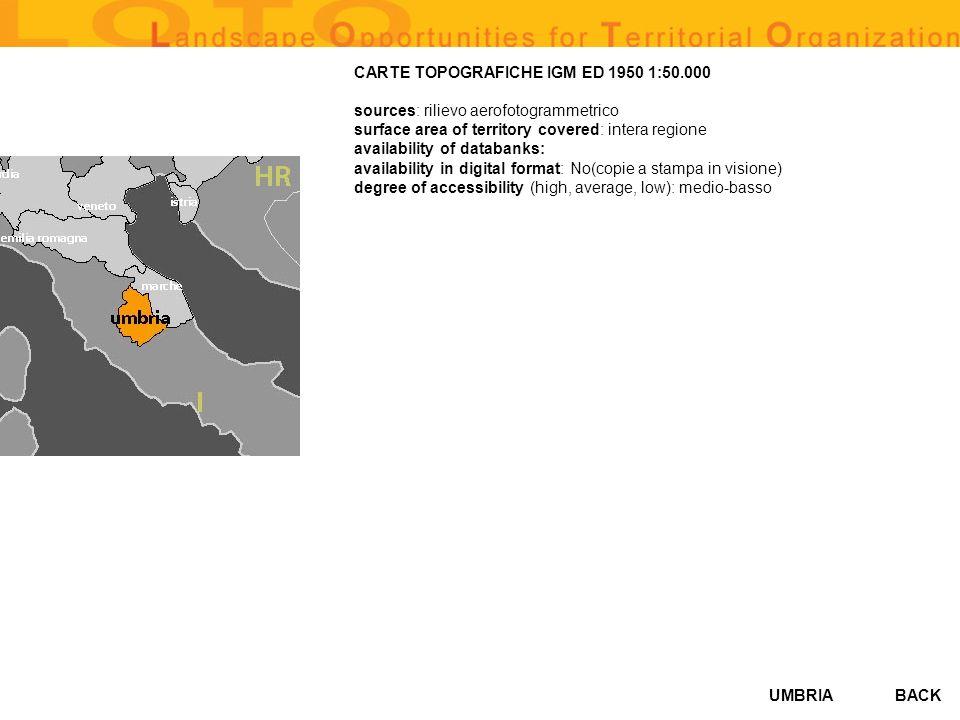 UMBRIA MAP OF HYDROGRAPHICAL BASINS (AMBITI TERRITORIALI OMOGENEI SOTTOBACINI IDROGRAFICI DEL FIUME TEVERE 1:200000) sources: Autorità el bacino del Tevere, IRRES, Regione Umbria surface area of territory covered: Bacino del Tevere e territorio regionale availability of databanks: Si availability in digital format: Si degree of accessibility (high, average, low): alto BACK