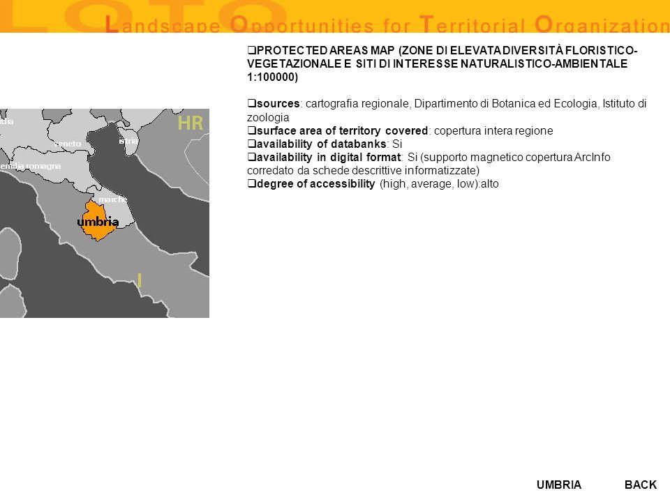 UMBRIA PROTECTED AREAS MAP (ZONE DI ELEVATA DIVERSITÀ FLORISTICO- VEGETAZIONALE E SITI DI INTERESSE NATURALISTICO-AMBIENTALE 1:100000) sources: cartog