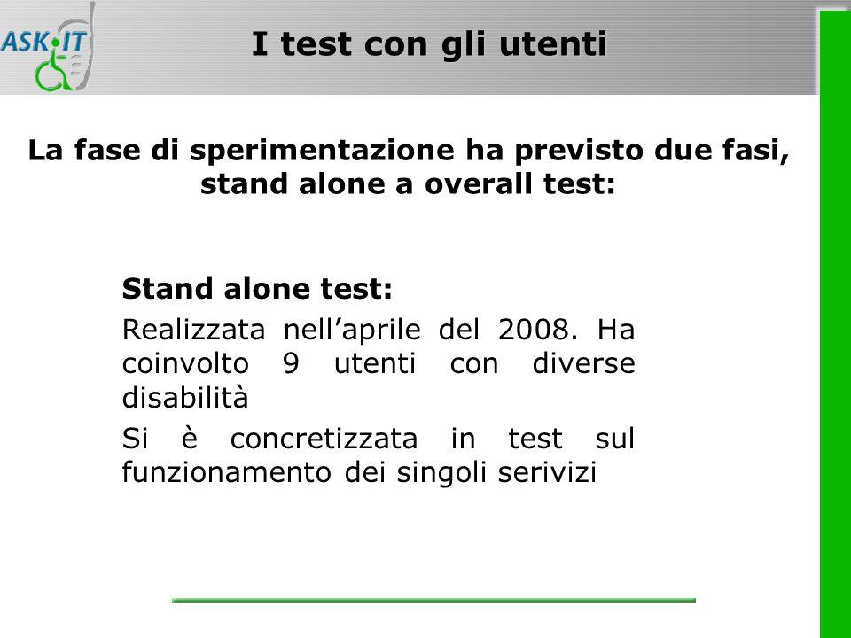 I test con gli utenti La fase di sperimentazione ha previsto due fasi, stand alone a overall test: Stand alone test: Realizzata nellaprile del 2008.