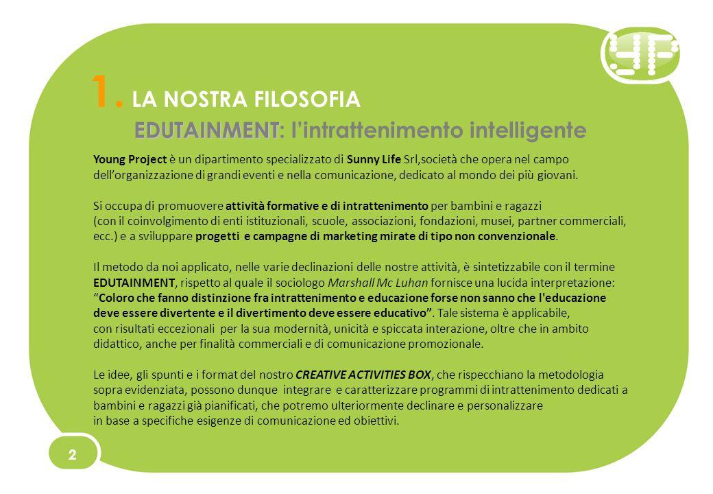 1. LA NOSTRA FILOSOFIA EDUTAINMENT EDUTAINMENT: lintrattenimento intelligente Young Project è un dipartimento specializzato di Sunny Life Srl,società