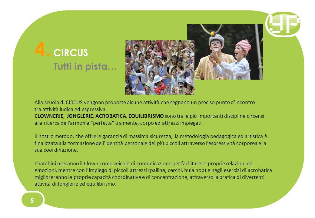 4. CIRCUS Tutti in pista… 5 Alla scuola di CIRCUS vengono proposte alcune attività che segnano un preciso punto dincontro tra attività ludica ed espre