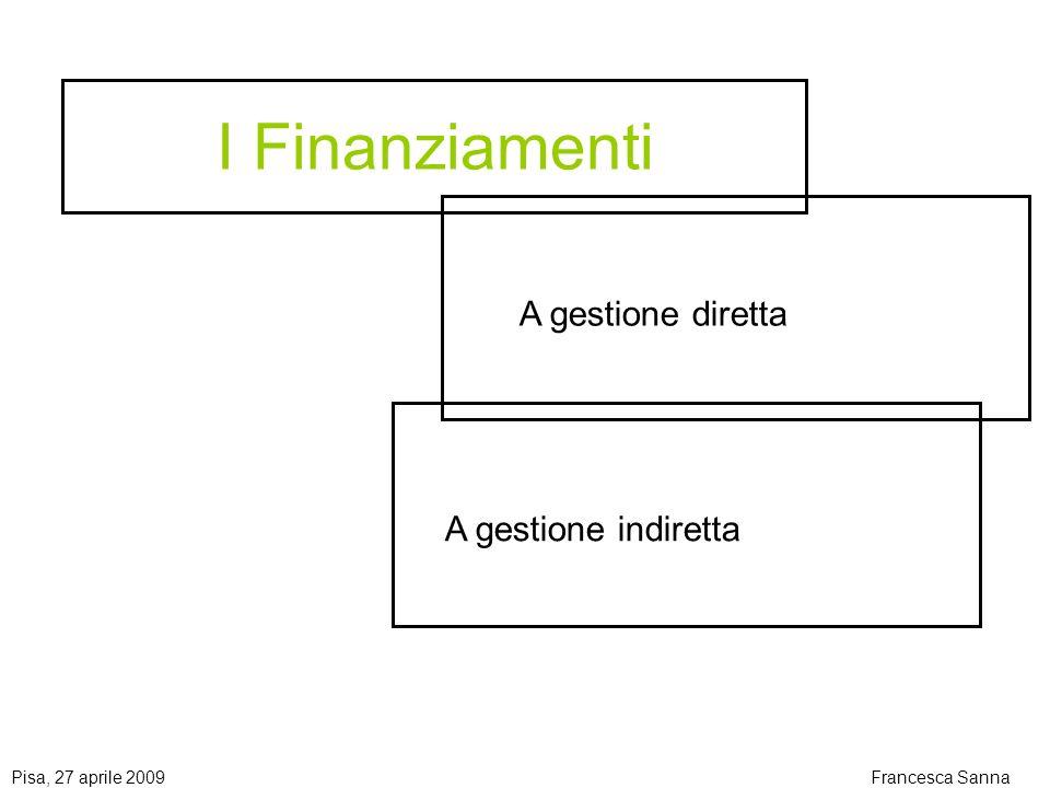 Pisa, 27 aprile 2009Francesca Sanna I Finanziamenti A gestione diretta A gestione indiretta