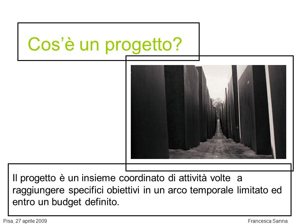 Pisa, 27 aprile 2009Francesca Sanna Gli indicatori Gli indicatori oggettivamente verificabili (OVIs) descrivono gli obiettivi del progetto in termini obiettivamente misurabili.