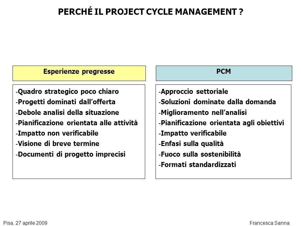 Pisa, 27 aprile 2009Francesca Sanna PERCHÉ IL PROJECT CYCLE MANAGEMENT .