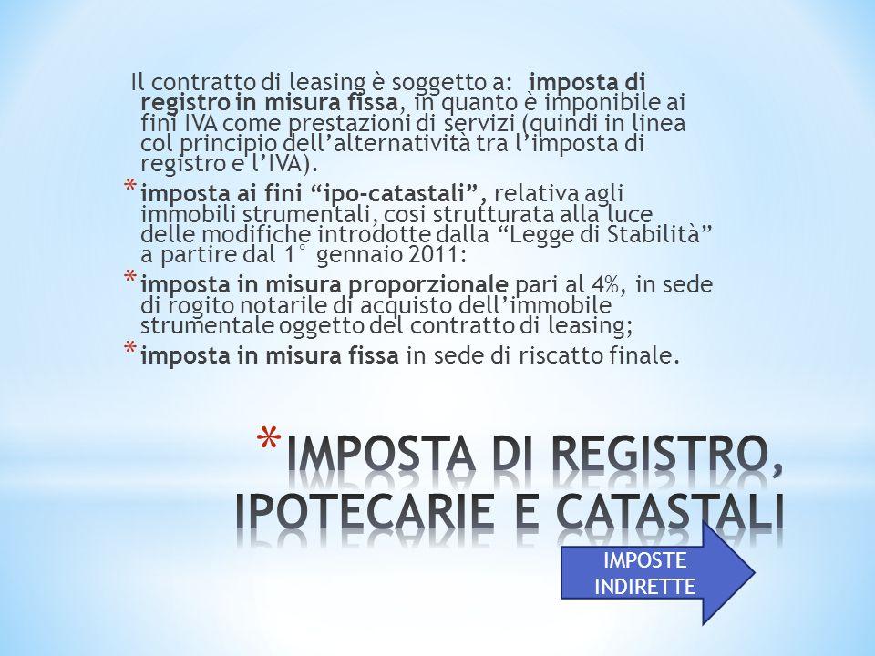 Il contratto di leasing è soggetto a: imposta di registro in misura fissa, in quanto è imponibile ai fini IVA come prestazioni di servizi (quindi in linea col principio dellalternatività tra limposta di registro e lIVA).