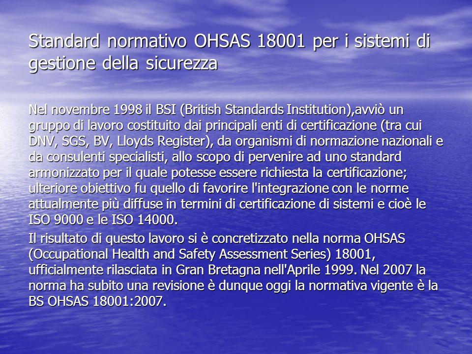 Standard normativo OHSAS 18001 per i sistemi di gestione della sicurezza Nel novembre 1998 il BSI (British Standards Institution),avviò un gruppo di l