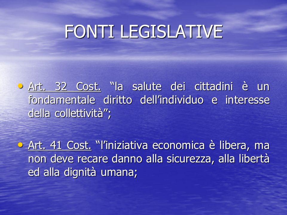FONTI LEGISLATIVE Art. 32 Cost. la salute dei cittadini è un fondamentale diritto dellindividuo e interesse della collettività; Art. 32 Cost. la salut