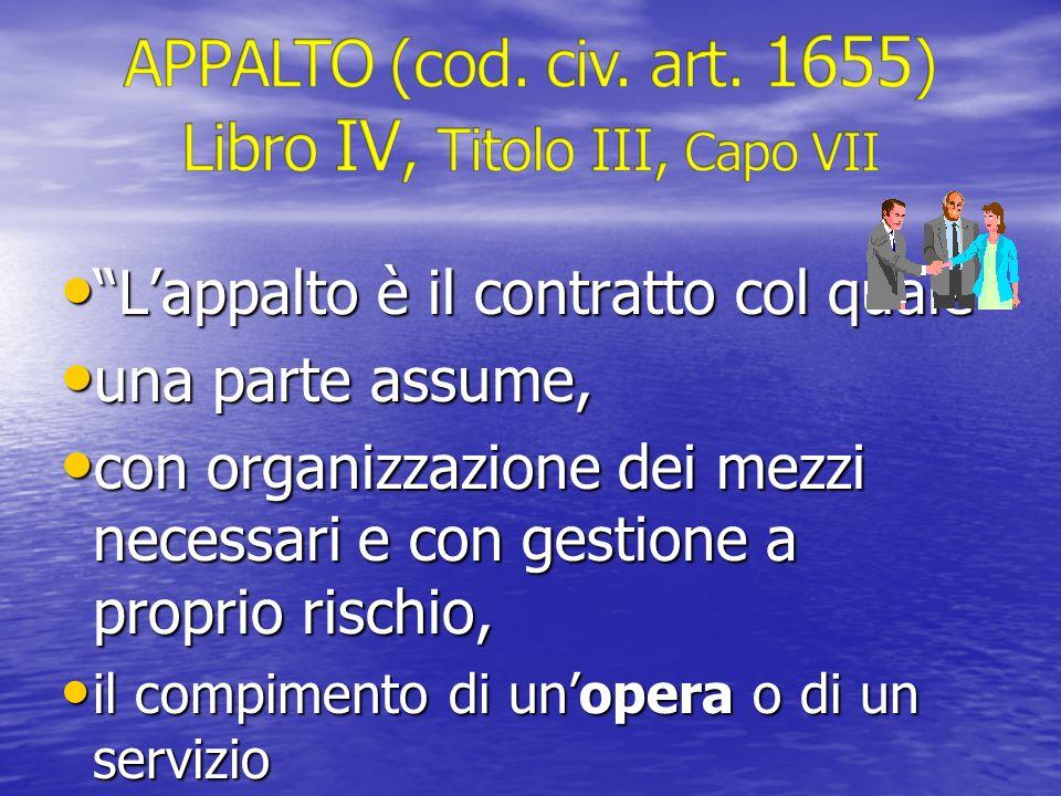 Lappalto è il contratto col quale Lappalto è il contratto col quale una parte assume, una parte assume, con organizzazione dei mezzi necessari e con g