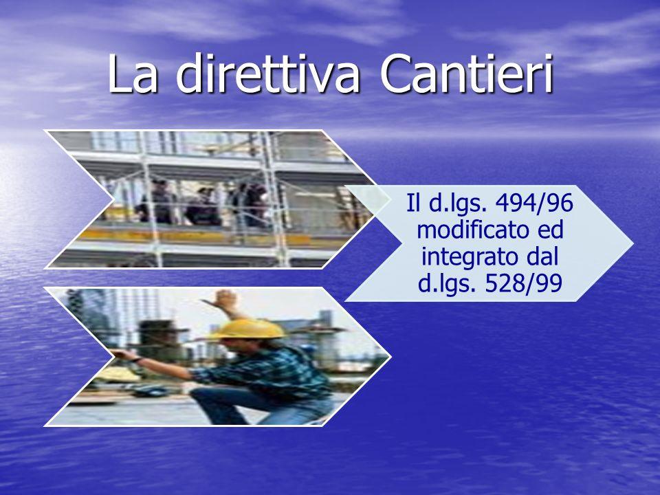 La direttiva Cantieri Il d.lgs. 494/96 modificato ed integrato dal d.lgs. 528/99