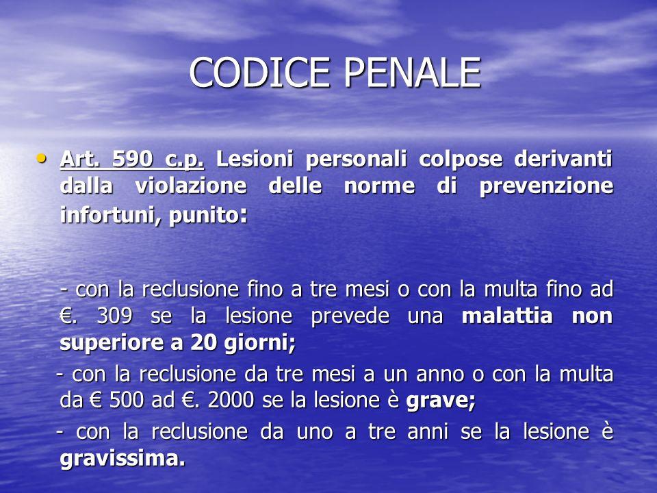 CODICE PENALE CODICE PENALE Art. 590 c.p. Lesioni personali colpose derivanti dalla violazione delle norme di prevenzione infortuni, punito : Art. 590