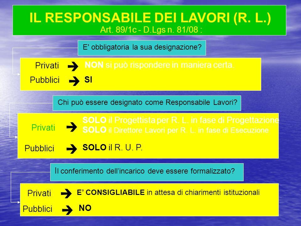 Art. 89/1c - D.Lgs n. 81/08 : E' obbligatoria la sua designazione? NON si può rispondere in maniera certa. Chi può essere designato come Responsabile