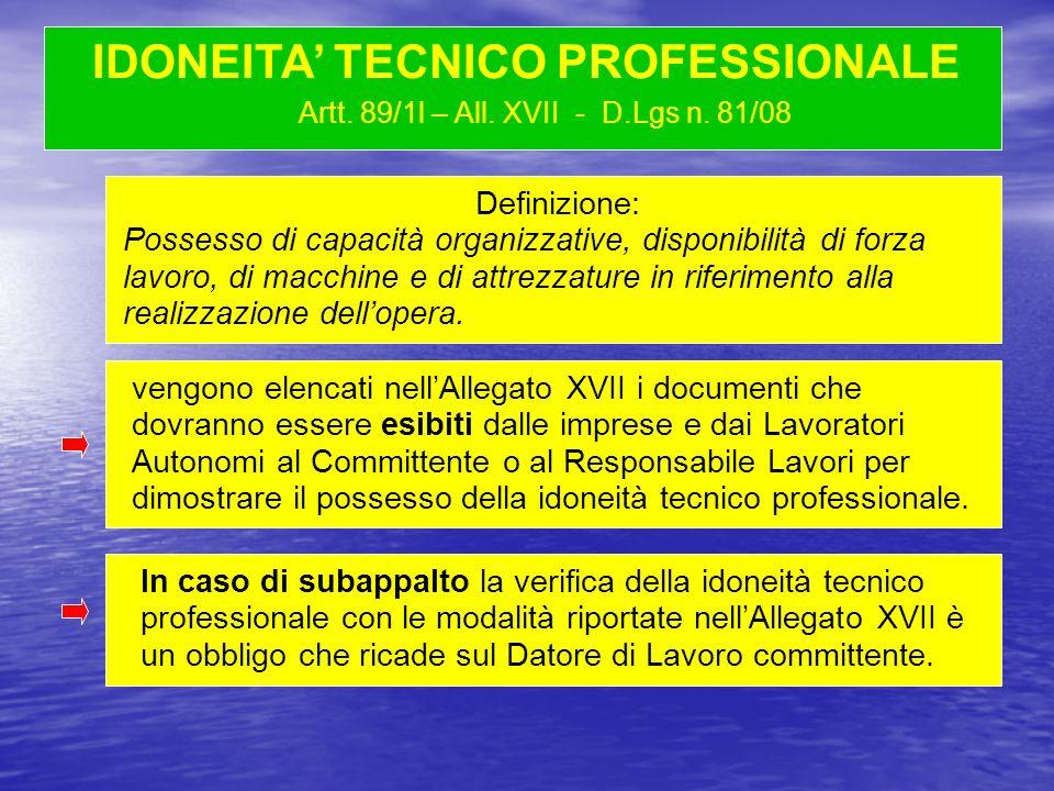 Artt. 89/1l – All. XVII - D.Lgs n. 81/08 Definizione: Possesso di capacità organizzative, disponibilità di forza lavoro, di macchine e di attrezzature