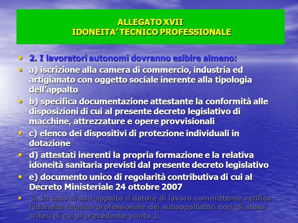 ALLEGATO XVII IDONEITA TECNICO PROFESSIONALE 2. I lavoratori autonomi dovranno esibire almeno: 2. I lavoratori autonomi dovranno esibire almeno: a) is