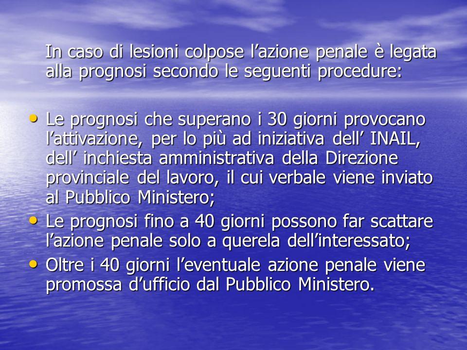 In caso di lesioni colpose lazione penale è legata alla prognosi secondo le seguenti procedure: In caso di lesioni colpose lazione penale è legata all