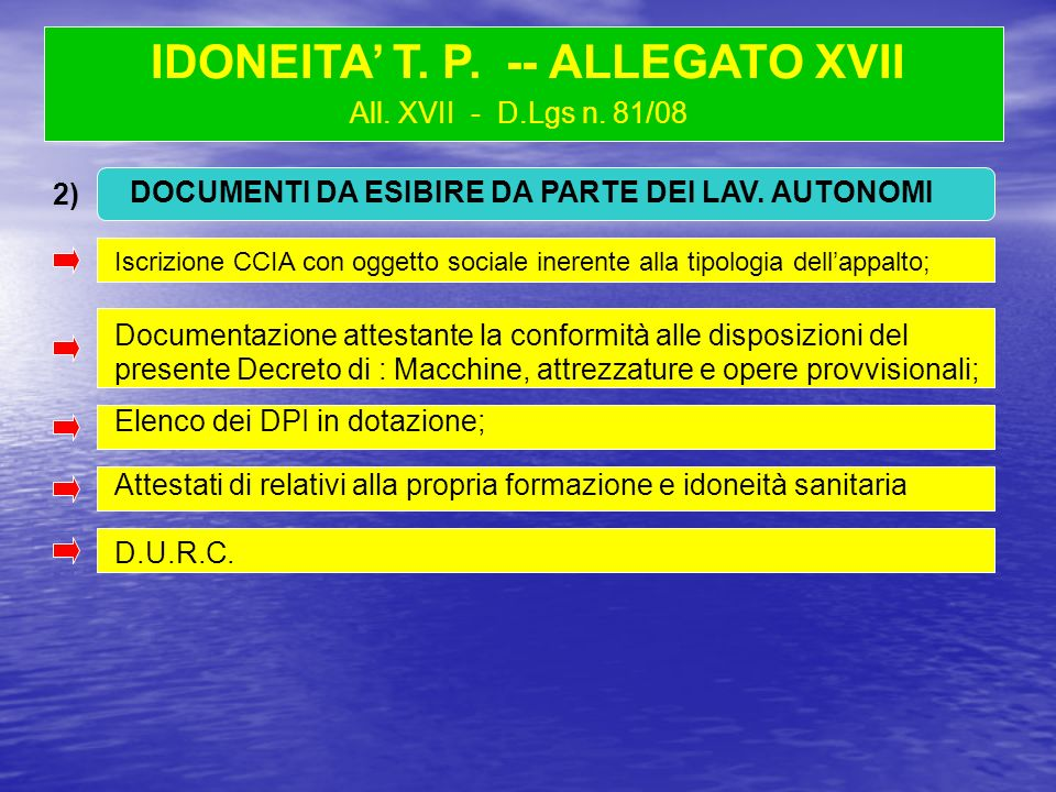 All. XVII - D.Lgs n. 81/08 Iscrizione CCIA con oggetto sociale inerente alla tipologia dellappalto; IDONEITA T. P. -- ALLEGATO XVII Iscrizione CCIA co
