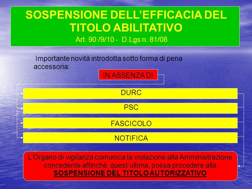 Art. 90 /9/10 - D.Lgs n. 81/08 IN ASSENZA DI SOSPENSIONE DELLEFFICACIA DEL TITOLO ABILITATIVO DURC PSC FASCICOLO Importante novità introdotta sotto fo