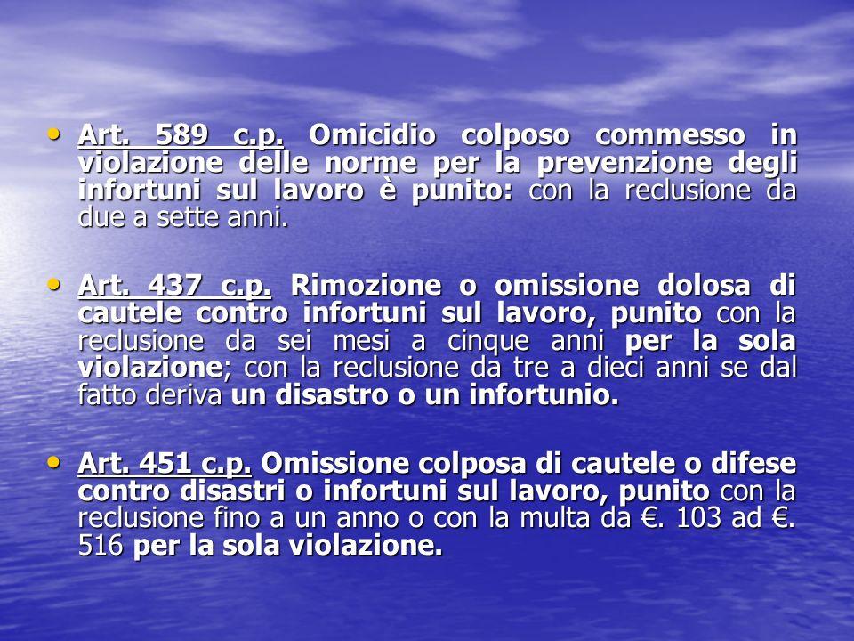Art. 589 c.p. Omicidio colposo commesso in violazione delle norme per la prevenzione degli infortuni sul lavoro è punito: con la reclusione da due a s