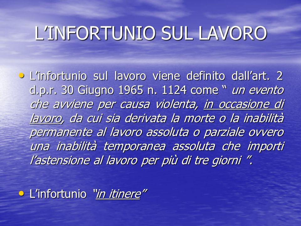 LINFORTUNIO SUL LAVORO Linfortunio sul lavoro viene definito dallart. 2 d.p.r. 30 Giugno 1965 n. 1124 come un evento che avviene per causa violenta, i