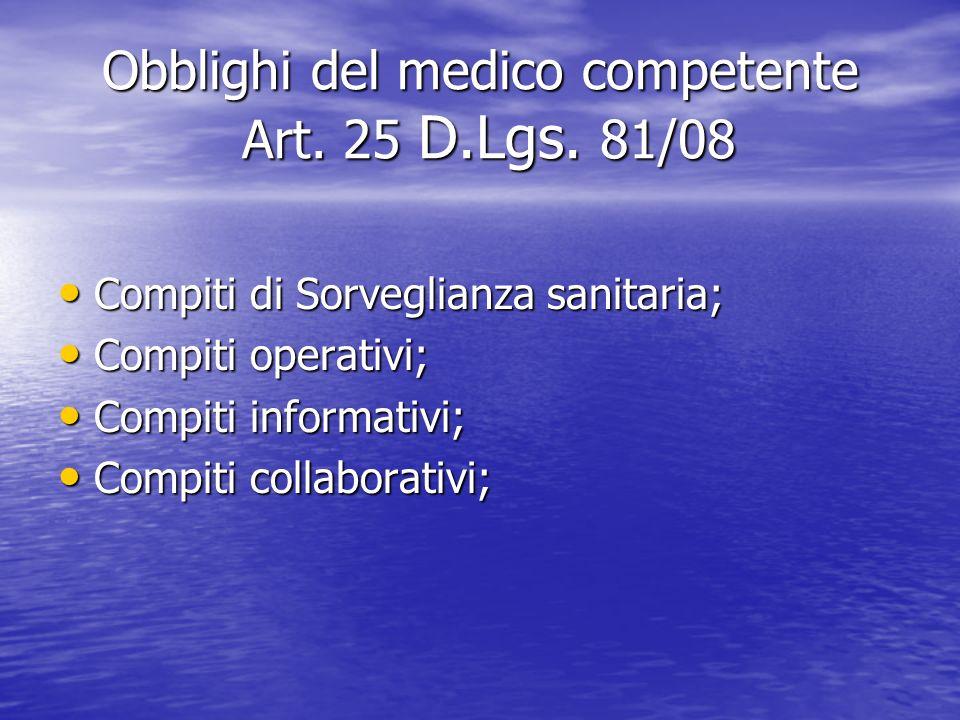Obblighi del medico competente Art. 25 D.Lgs. 81/08 Compiti di Sorveglianza sanitaria; Compiti di Sorveglianza sanitaria; Compiti operativi; Compiti o
