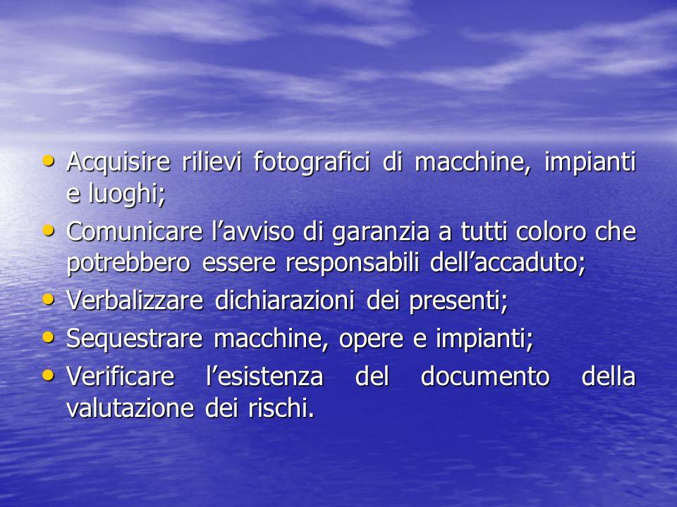 Acquisire rilievi fotografici di macchine, impianti e luoghi; Acquisire rilievi fotografici di macchine, impianti e luoghi; Comunicare lavviso di gara
