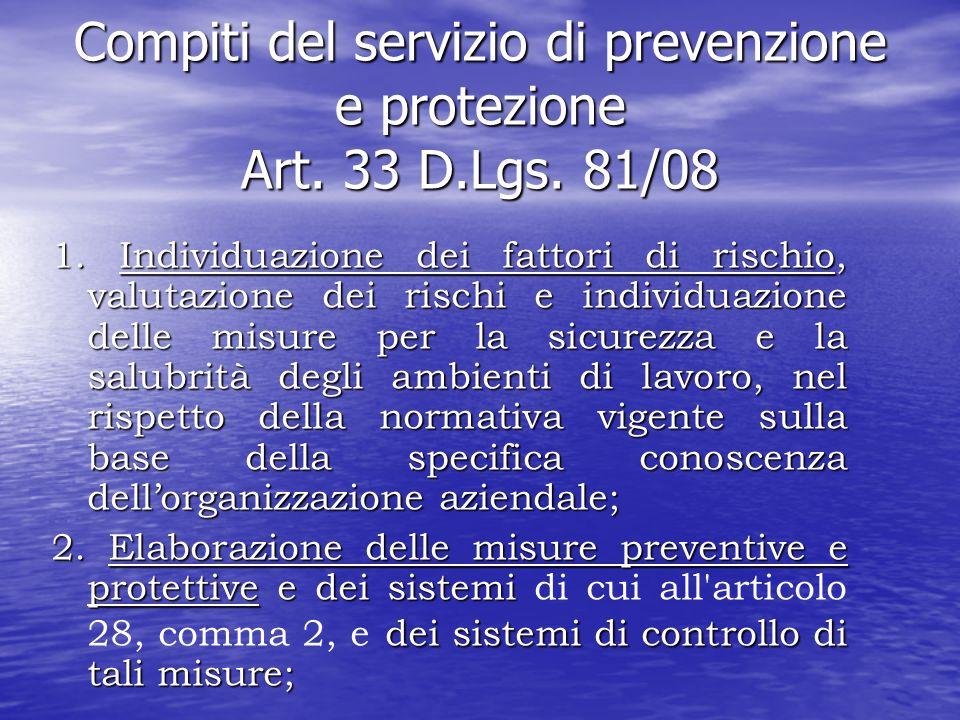 Compiti del servizio di prevenzione e protezione Art. 33 D.Lgs. 81/08 1. Individuazione dei fattori di rischio, valutazione dei rischi e individuazion