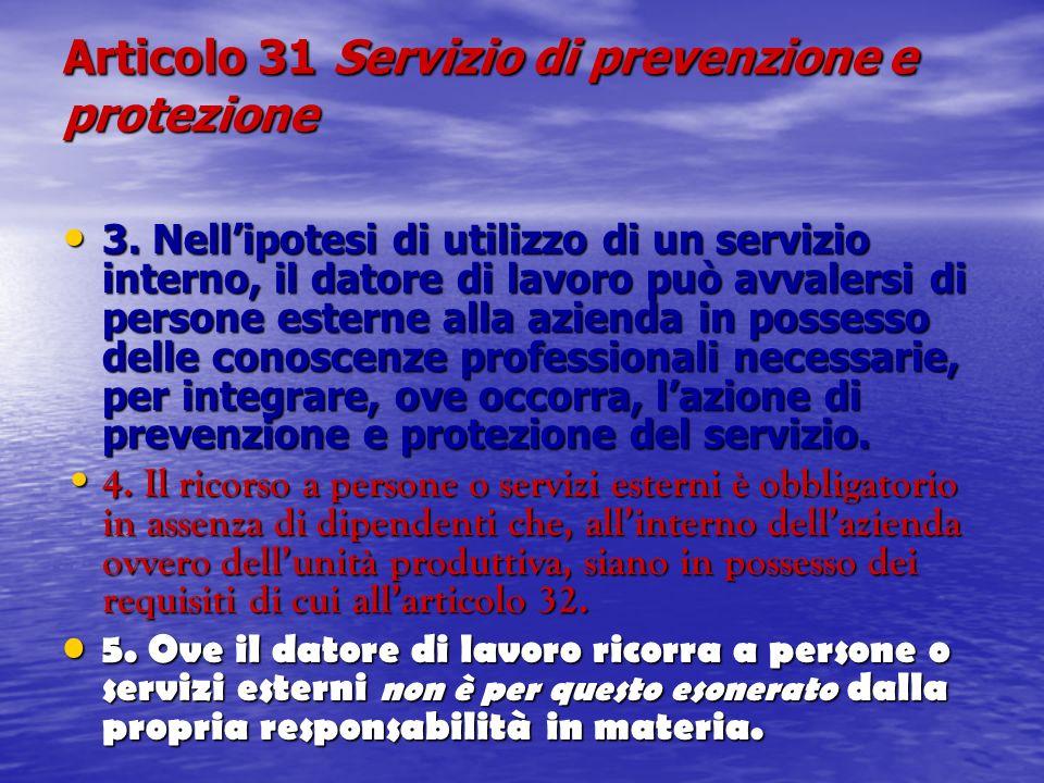 Articolo 31 Servizio di prevenzione e protezione 3. Nellipotesi di utilizzo di un servizio interno, il datore di lavoro può avvalersi di persone ester