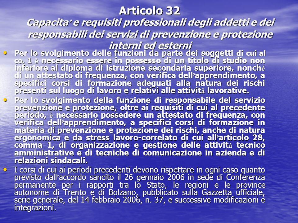 Articolo 32 Capacita e requisiti professionali degli addetti e dei responsabili dei servizi di prevenzione e protezione interni ed esterni Per lo svol