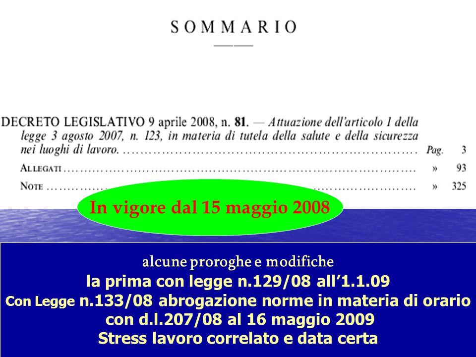 alcune proroghe e modifiche la prima con legge n.129/08 all1.1.09 Con Legge n.133/08 abrogazione norme in materia di orario con d.l.207/08 al 16 maggi